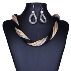 Golden and Black modern knitted necklace set