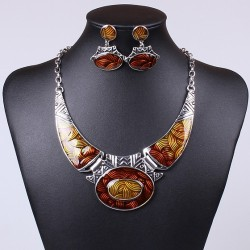 Mettalic brown resin based fancy necklace set with earrings Jewellery set for women