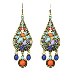 Modern ethnic long earrings with simulated colorful gem stones