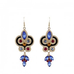 Modern ethnic long Egyptian design earrings with blue and pink filling