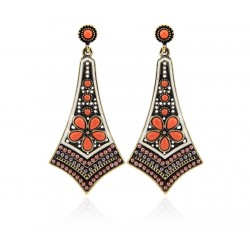 Modern ethnic long Egyptian design earrings with orange and black beads and resin