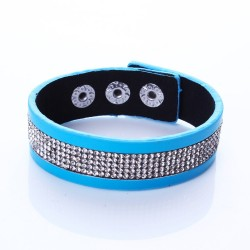 Modern faux leather blue velvet bracelet with shining white crystals