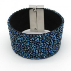 Modern faux leather bracelet with blue crystals and magnetic clasp