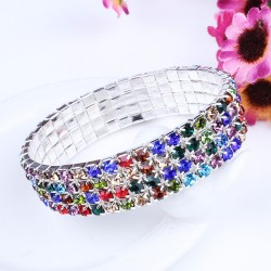 Multicolor crystals elastic fashion bracelet